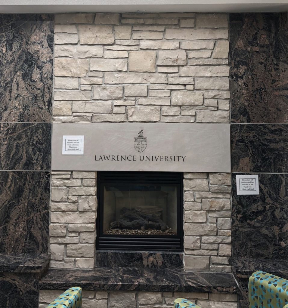 Photo of the Hiett Hall fireplace, found on the fourth floor.