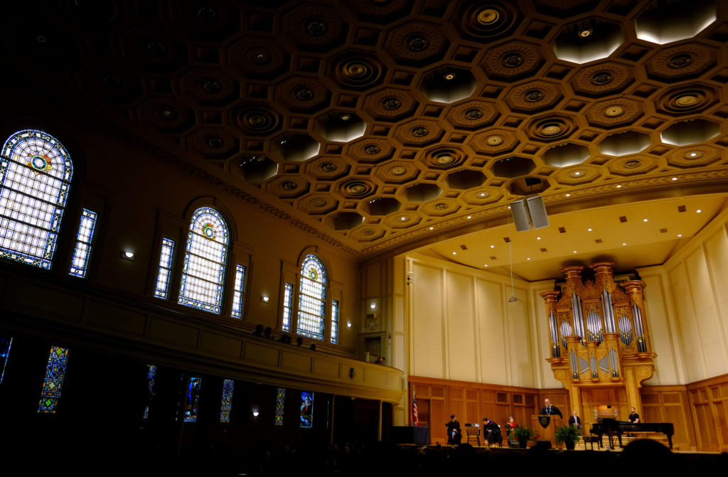 President Mark Burstein speaks during Thursday's convocation in Memorial Chapel.