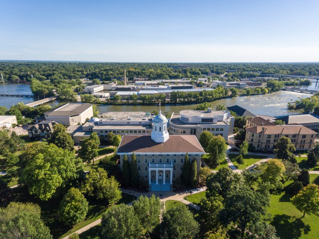 Aerial shot of the Lawrence campus, featuring Main Hall in the forefront.