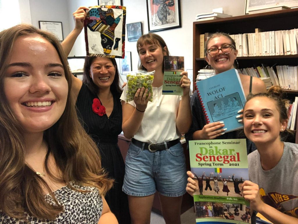 From left, Greta Wilkening '21, Dominica Chang, Bronwyn Earthman '21, Miriam Thew Forrester '20, and Tamima Tabishat '20 pose for a selfie in Chang's office.