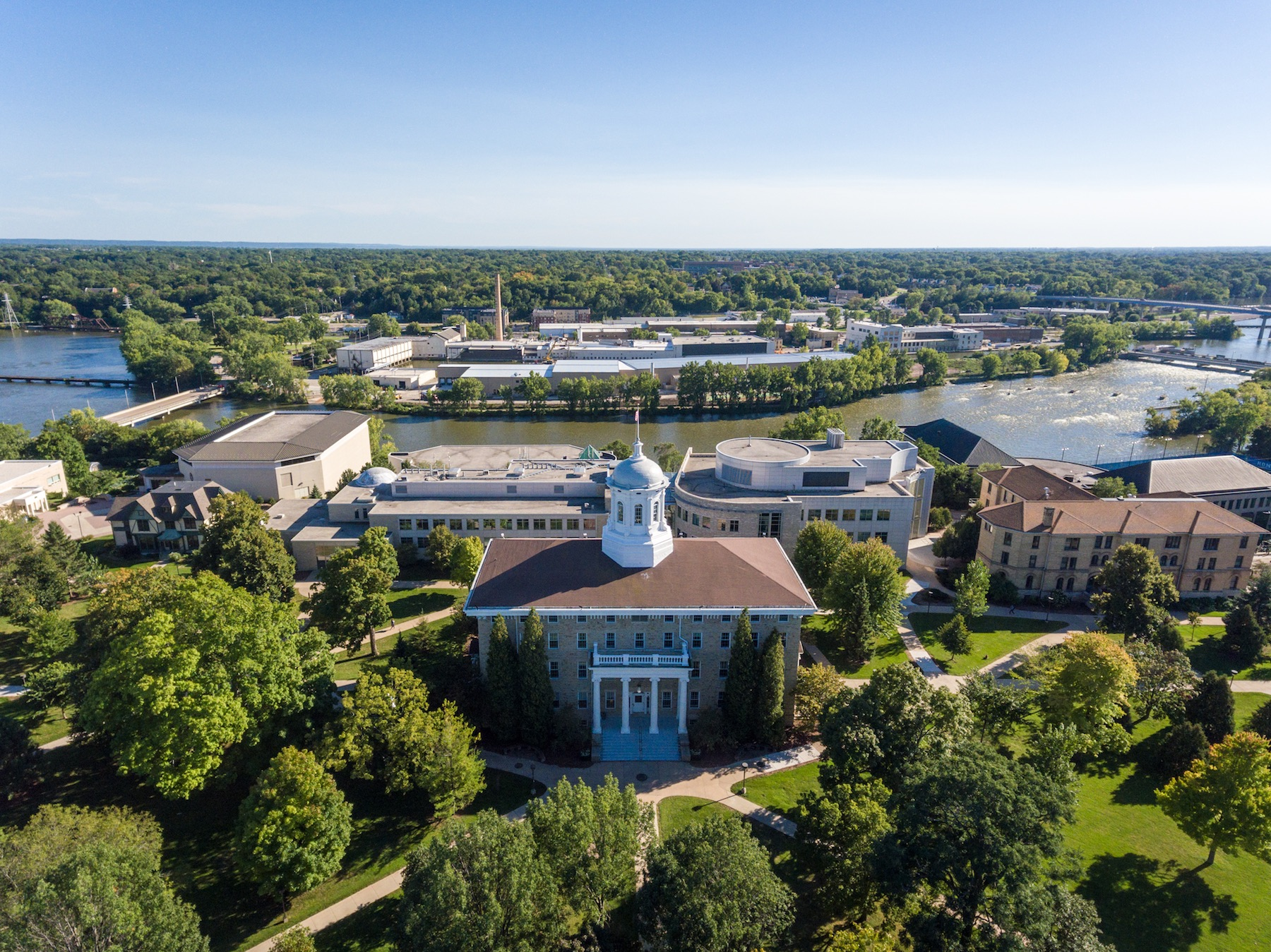 Aerial photo of the Lawrence campus showing Main Hall in the forefront.
