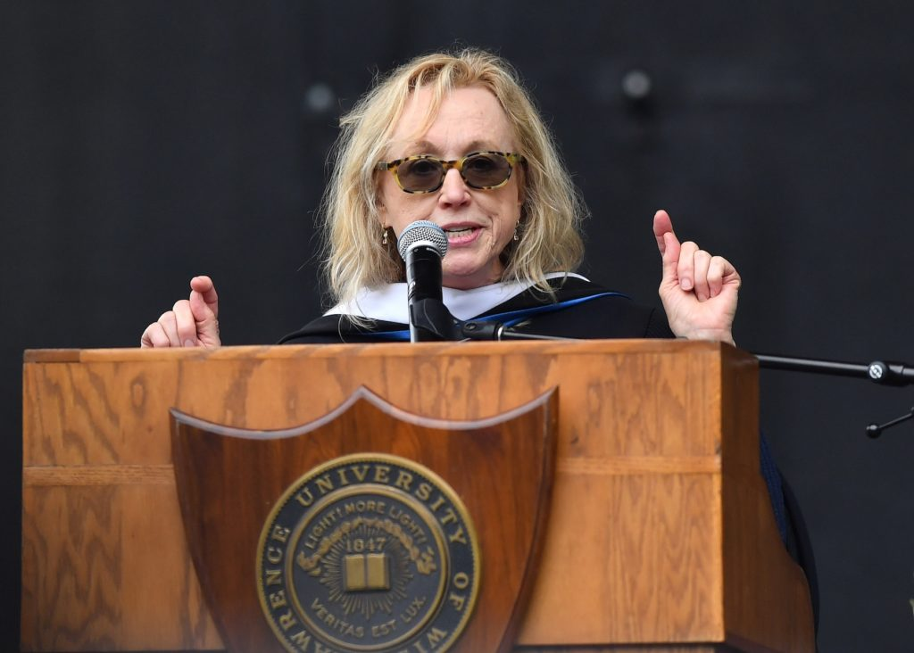 Lee Shallat Chemel speaks at Lawrence's commencement.