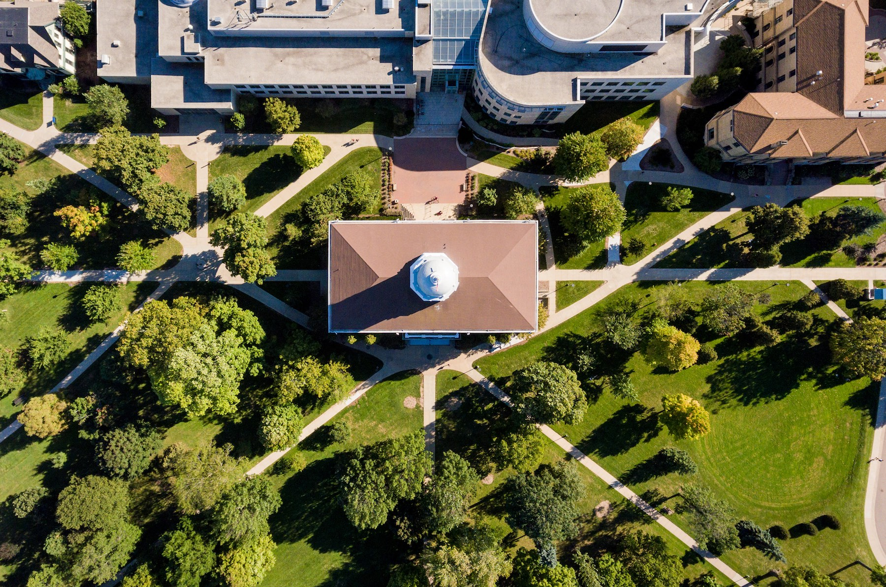 Aerial shot of campus showing Main Hall Green.