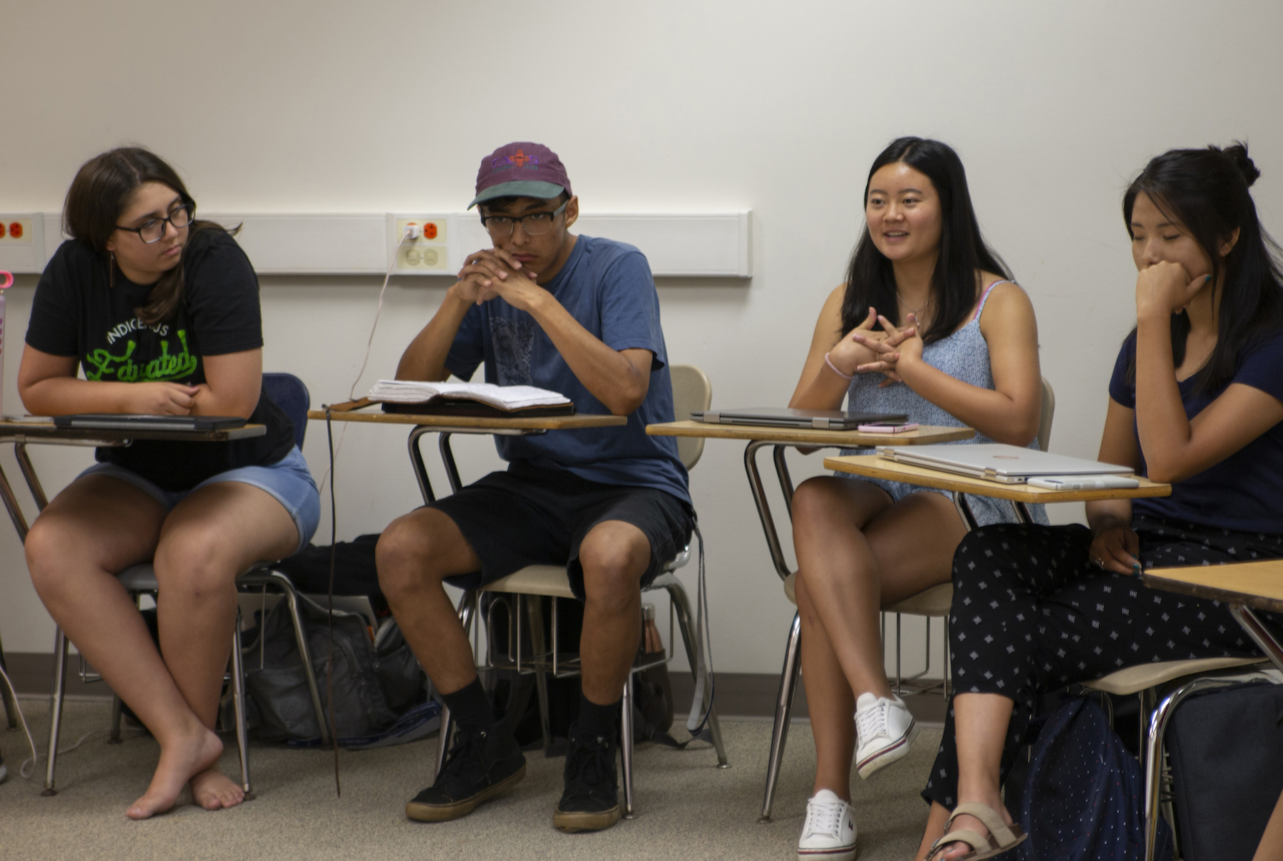 Students participate in a classroom discussion during last year's College Horizons program at Lawrence.