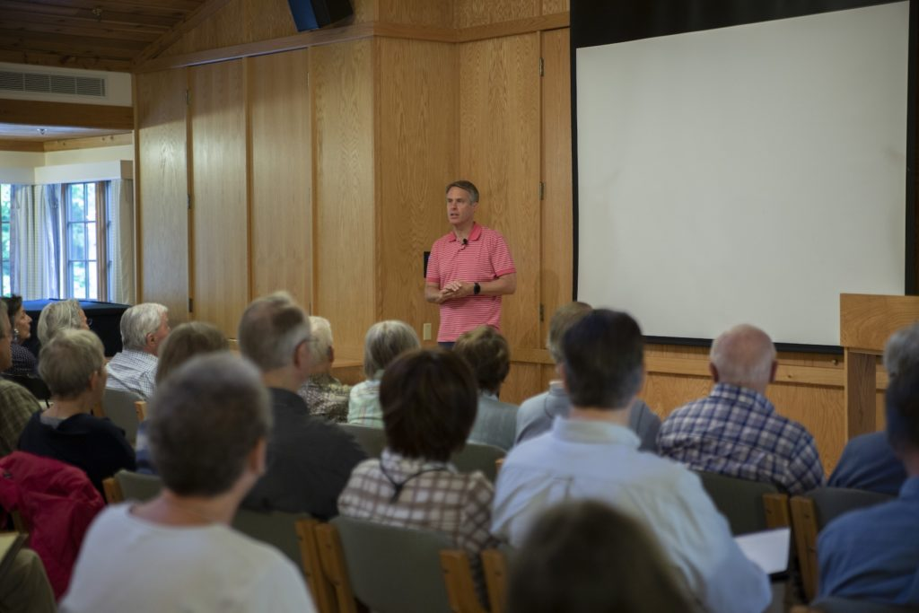 Terry Moran leads a session during the 2019 summer seminars at Bjorklunden.