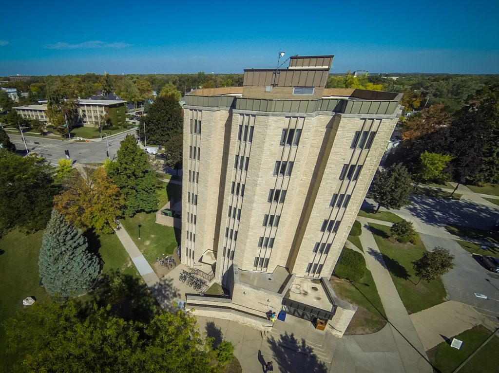 Aerial photo of Kohler Hall.
